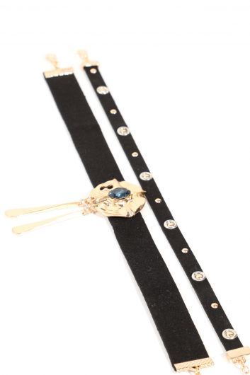 Women's Black Suede Stone Choker Necklace Double - Thumbnail