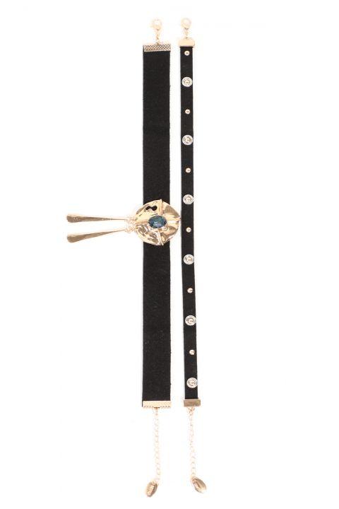 Женское черное замшевое колье-чокер с двумя камнями