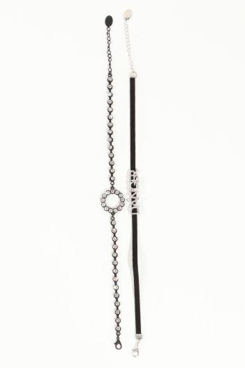 Женское комбинированное колье-чокер с черными камнями - Thumbnail