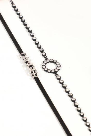 MARKAPIA WOMAN - Женское комбинированное колье-чокер с черными камнями (1)