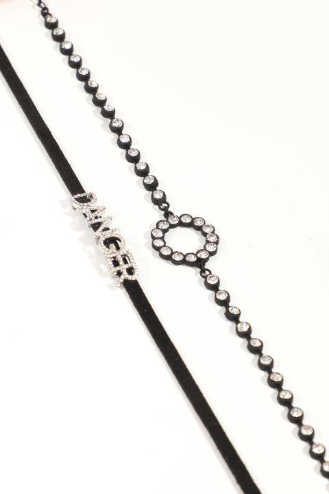 Женское комбинированное колье-чокер с черными камнями