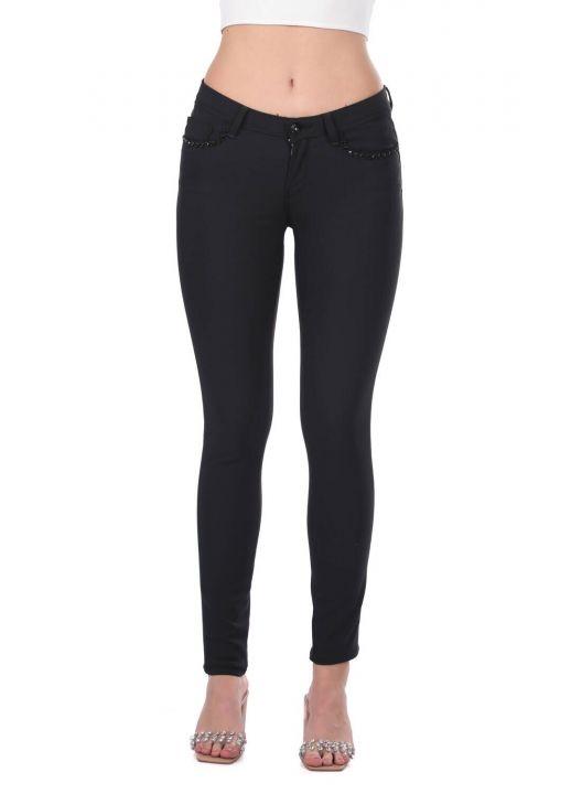 Women's Black Stone Detailed Jean Trousers