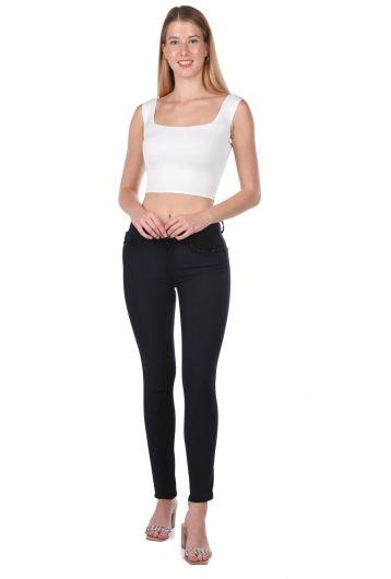 Женские джинсовые брюки с деталями из черного камня - Thumbnail