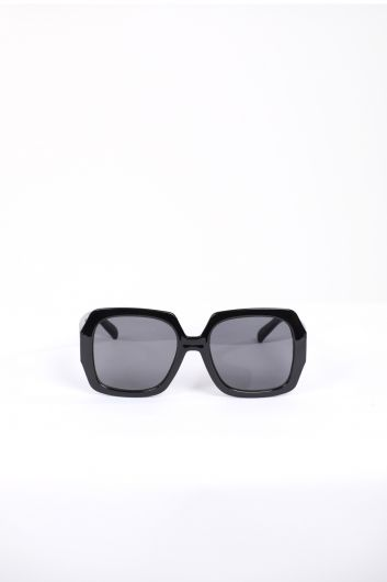 Women's Black Thick Frame Sunglasses - Thumbnail