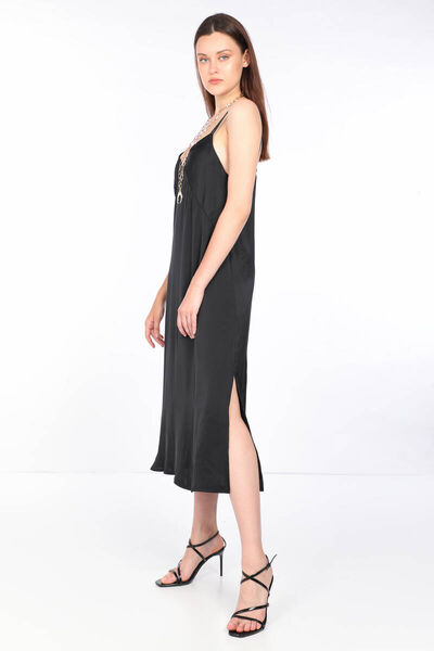 MARKAPIA WOMAN - Женское черное атласное платье с тонкими бретелями (1)