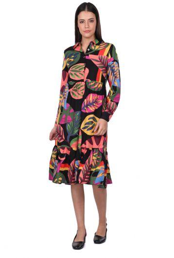 Women's Black Tropical Patterned Gathered Dress - Thumbnail