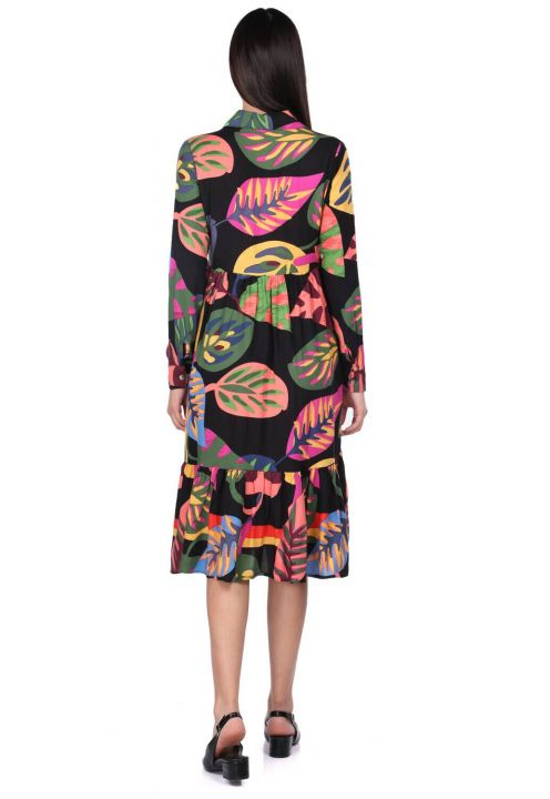 Women's Black Tropical Patterned Gathered Dress