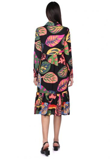 MARKAPIA WOMAN - Женское черное платье со сборками с тропическим узором (1)
