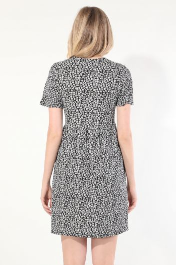Women's Black V Neck Gathered Short Sleeve Dress - Thumbnail