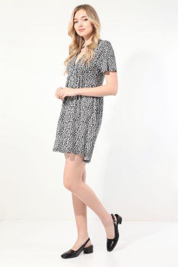 MARKAPIA WOMAN - Женское черное платье с короткими рукавами и V-образным вырезом со сборками (1)