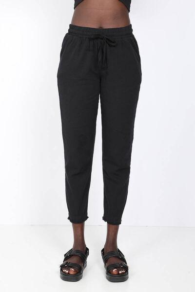 MARKAPIA WOMAN - Женские черные брюки с завязками на талии (1)