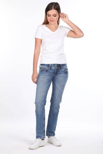 Women's Blue Double Buttoned Jean Trousers - Thumbnail