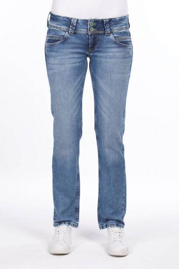 Женские синие джинсовые брюки с двумя пуговицами - Thumbnail