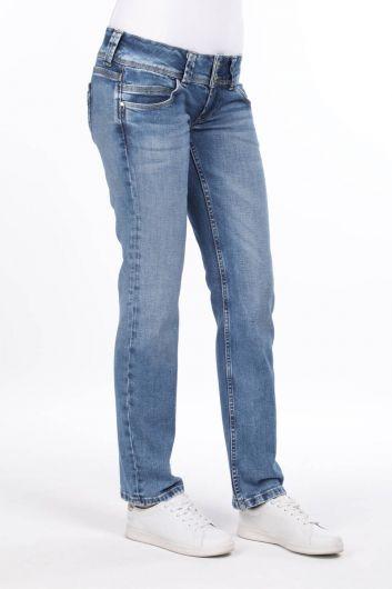 MARKAPIA WOMAN - Женские синие джинсовые брюки с двумя пуговицами (1)
