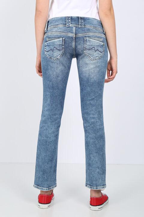 بنطلون جينز نسائي بخصر منخفض بجيب مزدوج
