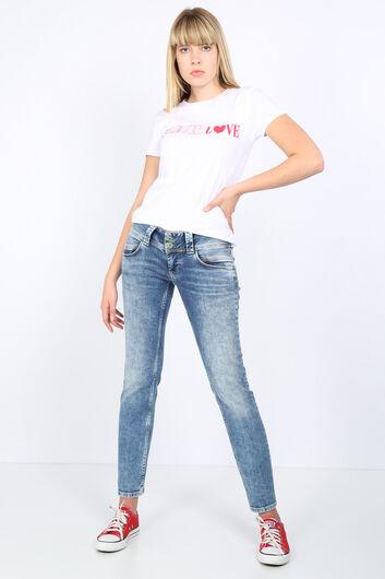 بنطلون جينز نسائي بخصر منخفض بجيب مزدوج - Thumbnail