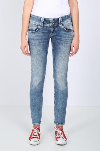 Женские синие джинсовые брюки с низкой талией и двойным карманом - Thumbnail