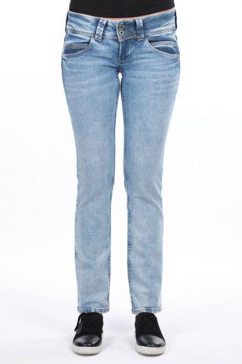 Женские синие джинсовые брюки с двумя карманами и низкой посадкой - Thumbnail