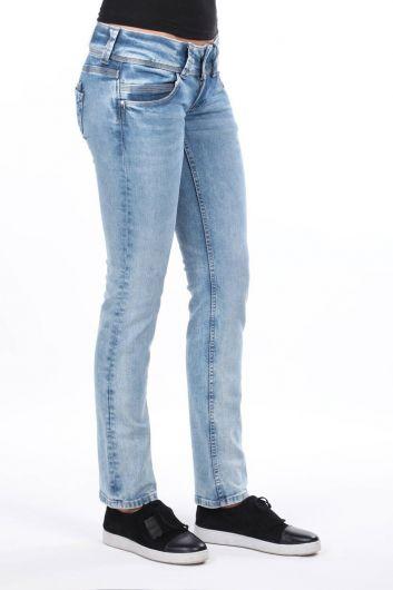 MARKAPIA WOMAN - Женские синие джинсовые брюки с двумя карманами и низкой посадкой (1)