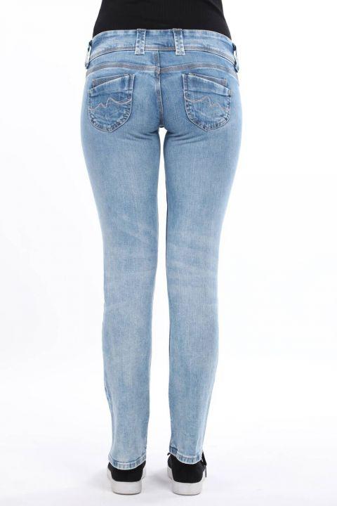 Женские синие джинсовые брюки с двумя карманами и низкой посадкой
