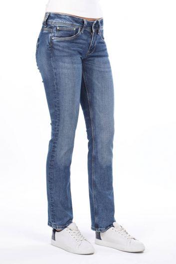 MARKAPIA WOMAN - بنطلون جينز بوي فريند أزرق منخفض الخصر للنساء (1)