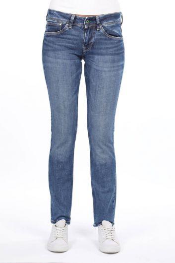 Женские синие джинсы-бойфренды с заниженной талией - Thumbnail