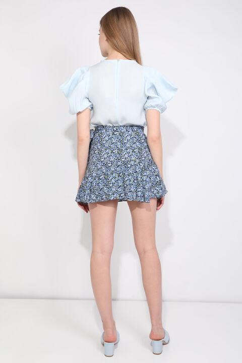 Women's Blue Floral Ruffle Short Skirt