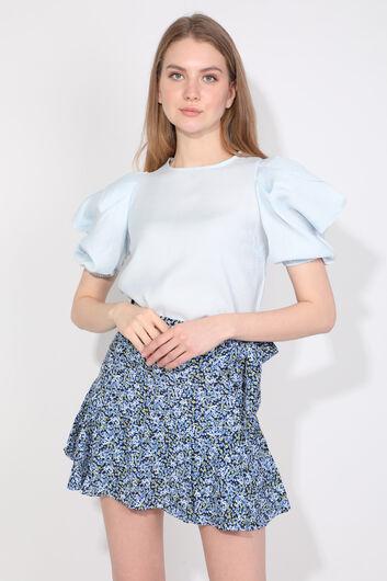 Женская синяя короткая юбка с цветочным принтом и оборками - Thumbnail