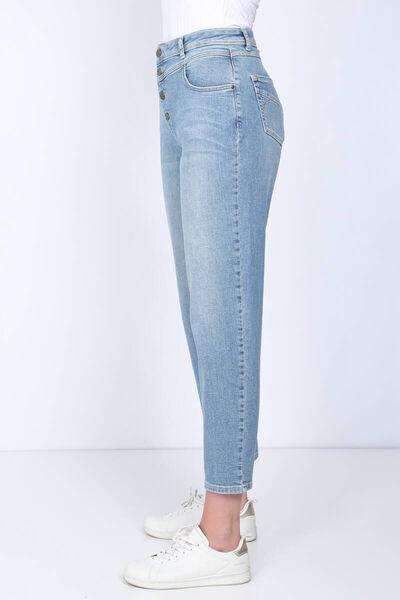 BLUE WHITE - بنطلون جينز نسائي أزرق عالي الخصر (1)
