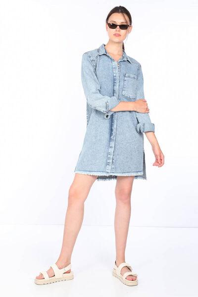 MARKAPIA WOMAN - Женское синее длинное джинсовое платье (1)