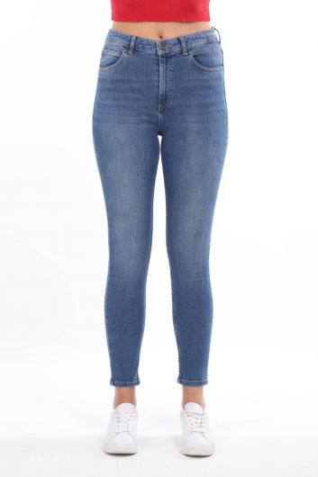 بنطلون جينز أزرق متوسط الخصر نسائي - Thumbnail
