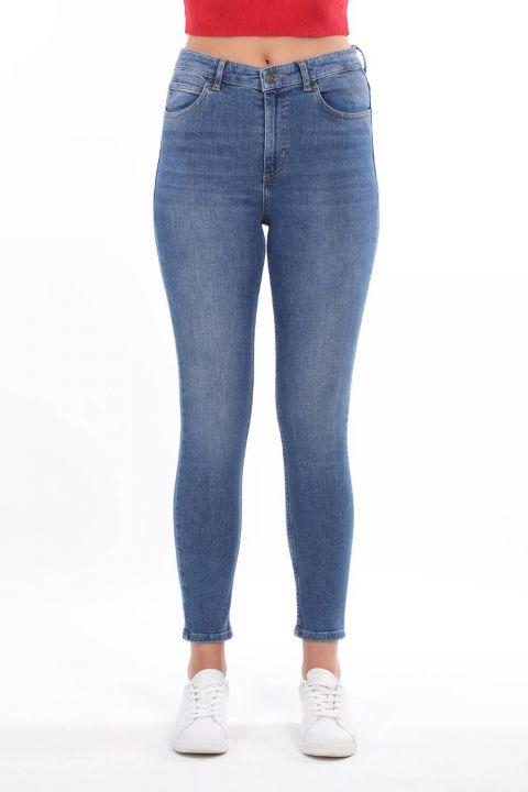 Женские синие джинсовые брюки со средней талией Skınny