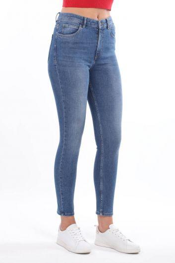 MARKAPIA WOMAN - Женские синие джинсовые брюки со средней талией Skınny (1)