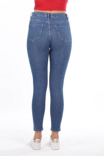 Женские синие джинсовые брюки со средней талией Skınny - Thumbnail