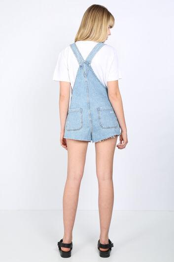 بذلة جينز زرقاء ممزقة نسائية - Thumbnail
