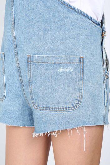 Women's Blue Ripped Detailed Jean Jumpsuit Shorts - Thumbnail
