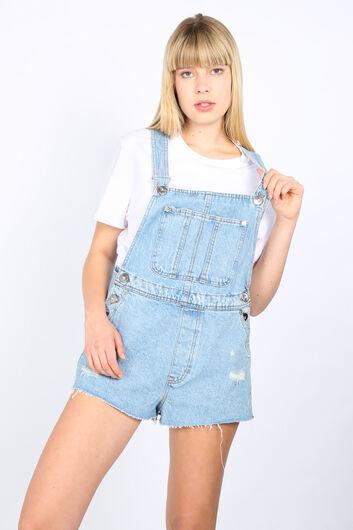 BLUE WHITE - Женские синие рваные джинсовые шорты-комбинезон с деталями (1)