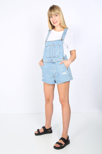 Женские синие рваные джинсовые шорты-комбинезон с деталями - Thumbnail