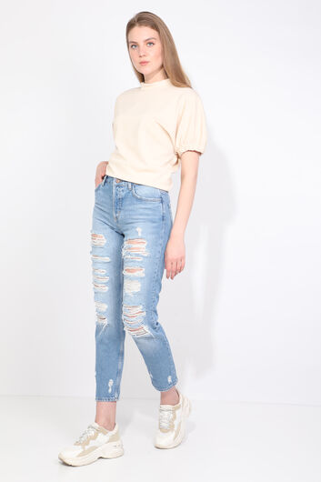 BLUE WHITE - Women's Blue Ripped Jean Trousers (1)