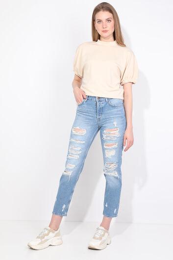 Женские синие рваные джинсовые брюки - Thumbnail