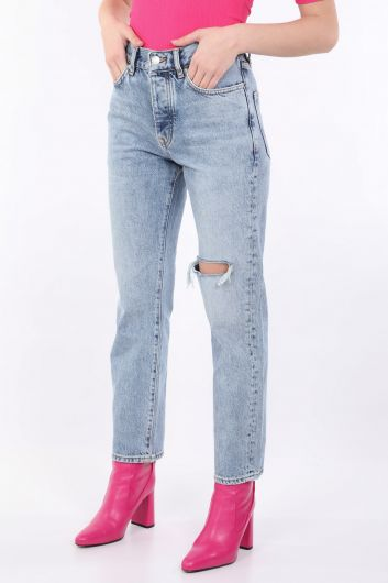 BLUE WHITE - Women's Blue Ripped Jean Trousers (1)