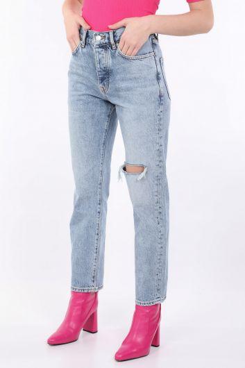 BLUE WHITE - Женские синие рваные джинсовые брюки (1)