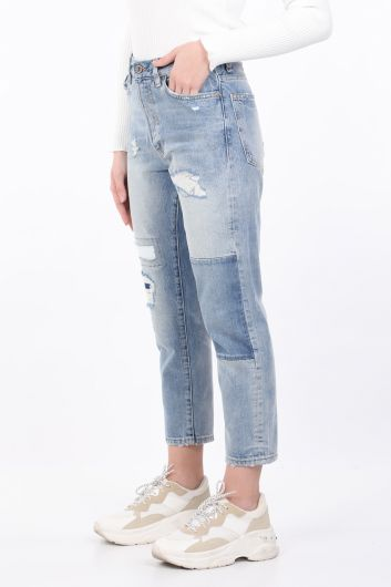 BLUE WHITE - بنطلون جينز أزرق نسائي ممزق مستقيم (1)