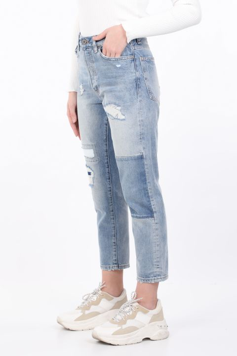 Women's Blue Ripped Straight Cut Jean Trousers