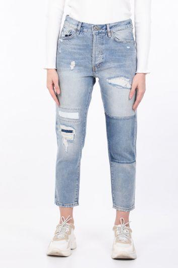 Женские синие рваные джинсовые брюки прямого кроя - Thumbnail