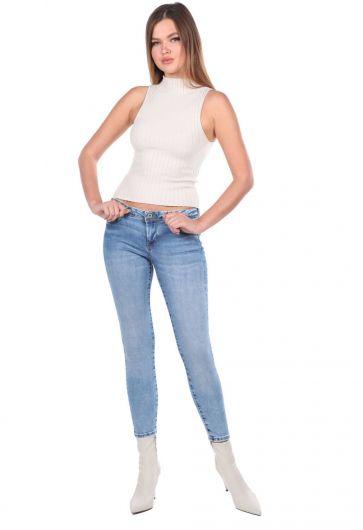 بنطلون جينز أزرق نسائي من Skınny Fit - Thumbnail