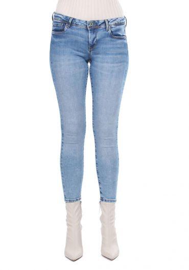 Женские синие джинсовые брюки Skınny Fit - Thumbnail