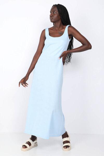 MARKAPIA WOMAN - Женское синее платье макси без бретелек с открытой спиной (1)