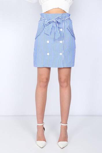 MARKAPIA WOMAN - Women's Blue Striped Buttoned Skirt (1)
