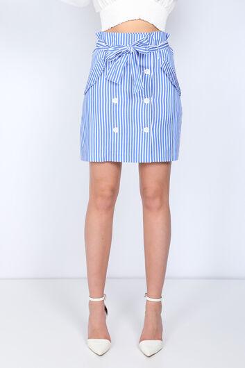 MARKAPIA WOMAN - Женская синяя юбка на пуговицах в полоску (1)